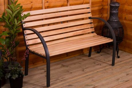 £34.99 (from Home Discount) for a brown slatted garden bench