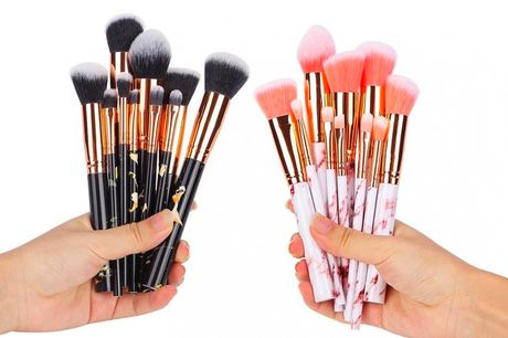 £8.99 instead of £19.99 for a 10pc marble effect makeup brush set from hey4beauty - choose from four colours and save 55%