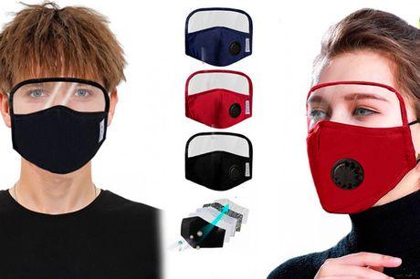 Smart ansigtsmaske med øjenskold der beskytter både mund, næse og øjne