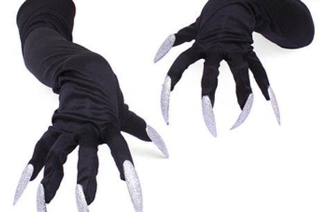 Gants Spooky Long Nail. Donnez une touche de lumière à votre costume de personnage diabolique avec ces griffes scintillantes. Gants longs avec les ongles attachés facile à porter. Idéal pour Halloween et autres fêtes costumées. Les gants sont en taille un