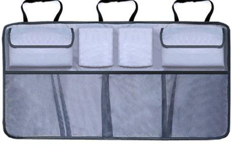 Organisateur de coffre de voiture. Multi-poches qui conviendront à des objets de formes et de tailles multiples. Fait de matériau durable pour la stabilité lors de la conduite. Réglable pour toutes les tailles de voiture.