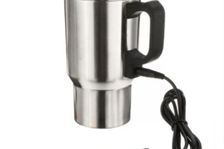 Beheizte Kaffeetasse aus Edelstahl für Autos. Halte deine heißen Getränke während der gesamten Fahrt warm. Der umweltfreundliche Plastikbecherdeckel verhindert, dass dein Getränk verschüttet wird. Hergestellt aus Edelstahl, um deine Getränke zu isolieren.