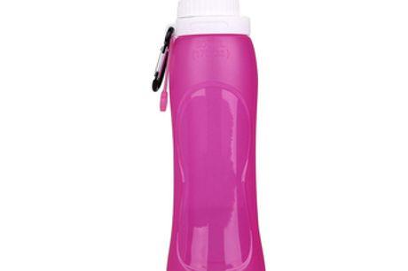 Faltbare Wasserflasche. Im zusammengeklappten Zustand passt sie perfekt in die kleinste Tasche.Die Flasche ist auslaufsicher, sodass du dir keine Sorgen um verschwendetes Wasser machen musst.Mit einem Haken und einem Aufhängeriemen kannst du sie an dein