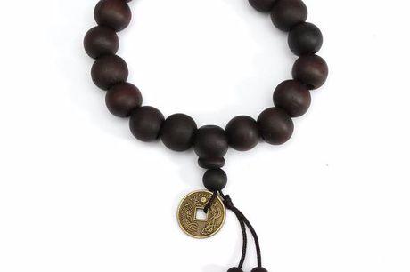 Buddhistisches Armband. Hippes schwarzes Armband mit Holzperlen. Tibetisch/buddhistischer Stil. Für Damen und Herren.
