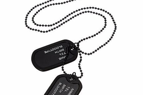Stoere dog tag Vind iedereen terug met deze stoere dog tag. Bekend door het Amerikaanse leger. Geleverd met een lange ketting (60cm). Per bestelling krijg je 2 legerplaatjes. Voorzien van silencers (zwarte rubbertjes) te bescherming van de tags