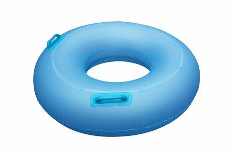Leuchtender Schwimmreifen. Beleuchteter Schwimmring für Kinder. Aus umweltfreundlichem Kunststoff hergestellt, mit zwei Handgriffen und LED-Beleuchtung mit eingebauter Knopfbatterie. Ideal für abendliche Planschpartien