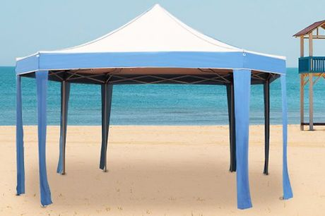 Octagon Steeple Gazebo     Entirely stable and water-resistant     Easy to set up and take down     Made of high-quality polyethylene and rust/corrosion resistant stainless steel     Ideal for outdoor events, such as shows, weddings, parties and barbe