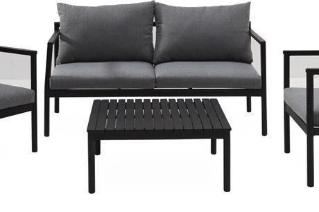 Vera Loungehavesæt. Loungehavesæt, bord, 1 sofa 2 pers. og 2 stole. - Stel i sort aluminium, sortmalet FSC® eucalyptus og hynder i mørkegrå polyester