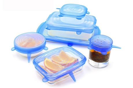 Få 6 eller 12 stk. smarte og miljørigtige silikonelåg i forskellige størrelser, som passer til enhver skål og madrest. Vælg mellem blå, lyserød og gennemsigtig - inkl. fri fragt
