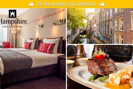 Overnachting + ontbijt + evt. 3-gangendiner voor 2 in Delft