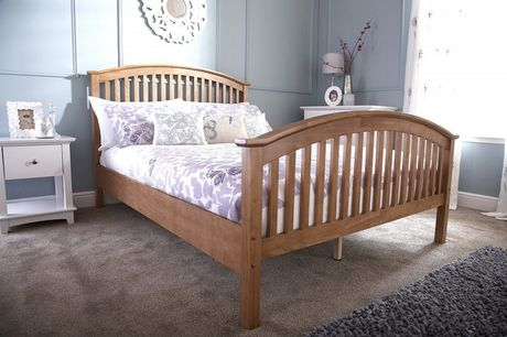 From £169 instead of £399.99 for a small double oak wooden slatted bed with an optional mattress from FTA Furnishings - save up to 58%