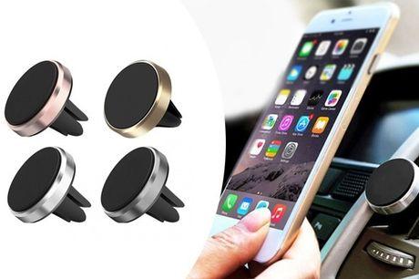 Med en magnetisk mobilholder til bilen kan du snakke løs uden at tage hænderne fra rattet - inkl. fri fragt