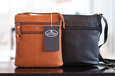 Bon Goût taske i blødgarvet bøffellæder. Vælg mellem cognacfarvet eller sort. Pris inkl. fri fragt.