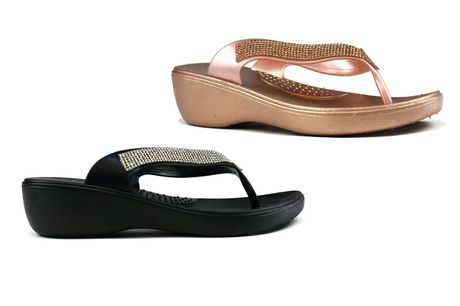 £12.99 for a pair of sparkly wedge flip flops in black, rose gold or silver colours and sizes 4-8 ffrom Shoe Fest!