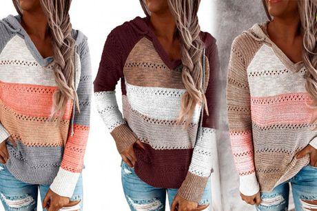 Stilfuld hættetrøje i smukt og enkelt strikket design