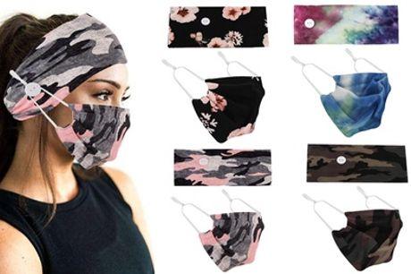 Headband y mascarilla con botones