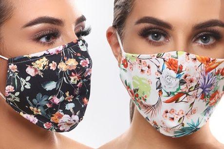 1, 2, 3, 5, 10 or 20 máscaras faciales de algodón lavables y reutilizables multicolor con estampado Floral