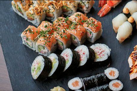 Takeaway sushi med 46 lækre stykker - Så skal der spises lækker sushi. Bestil takeaway fra SOYA og hent dine 45 stk. sushi i Vestergade eller Jægersgaardgade. Værdi kr. 558,-