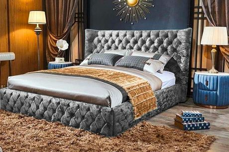 From £499 for a small double empress wingback crushed velvet bed from Supreme Trade - choose your size, colour and button option