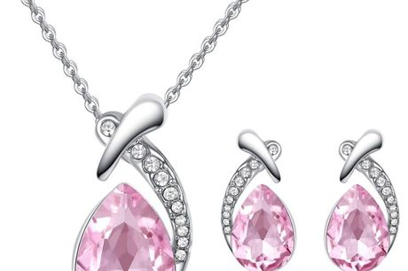 £12 instead of £79 for a pear cut crystal necklace & earrings set - 6 colours, from Your Ideal Gift - save 85%