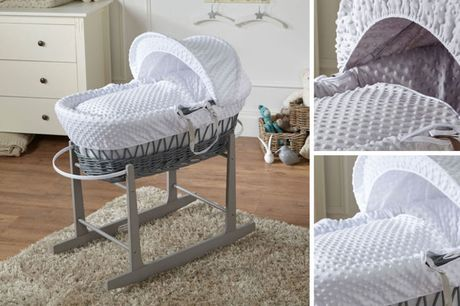 £34 for a wicker Moses basket, or £52 to include a rocking stand from For Your Little One – choose from two colours!