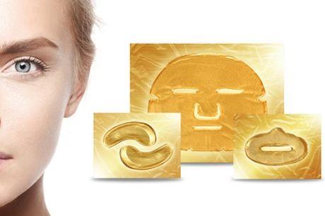 Goudkleurige collageen-gezichtsmaskers voor ogen, gezicht en lippen