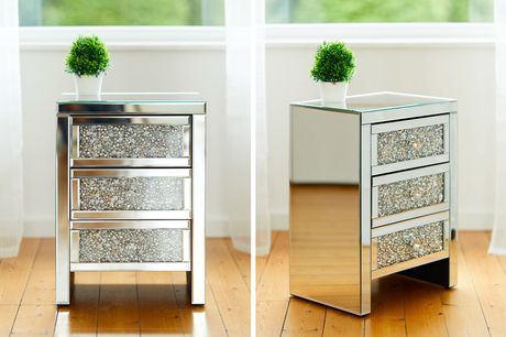 £110 instead of £284.01 for a mirrored bedside cabinet with a crushed diamond effect from Furniture Living - save 61%