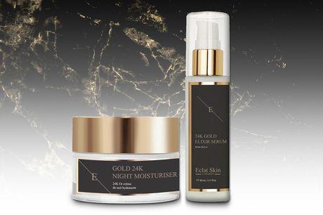 £19.99 for a 24 gold 'anti wrinkle' duo set from Eclat Skin London - get an elixir serum and a moisturiser
