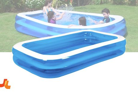 Familiezwembad Rechthoek 2 Rings 262 X 175 X 50 Cm Blauw