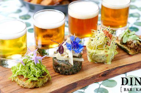 4 luksus-stykker med øl/vin-menu. Gå på opdagelse i forskellige smagsuniverser