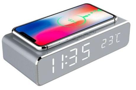 Despertador 2 en 1 con unidad de carga inalámbrica para móviles