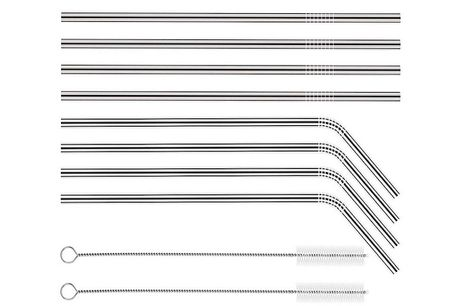 Set-of-8 Reusable Stainless Steel Straws     Perfect for all hot and cold drinks including smoothies, hot chocolate and milkshakes     Ecological and economical solution to one-use straws     Package dimensions: 24cm x 7cm x 2cm     Get a variety of