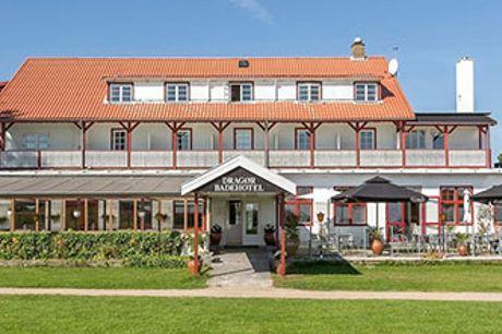 DRAGØR BADEHOTEL - 1-2 nt. med kaffe og kage, 4-retters menu, morgenmad, gratis parkering og WiFi.