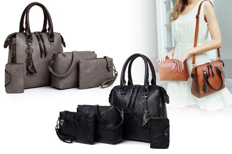 £14.99 instead of £64.99 for a four-piece handbag set in red, black, light grey or brown from Domo Secret - save 77%