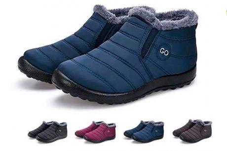 Behagelige vandtætte vinterstøvler med foring og skridsikre gummisåler