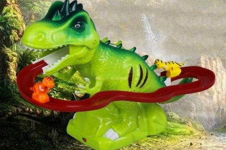 £10.99 for an electric track dinosaur toy in green or yellow from Pinkpree!