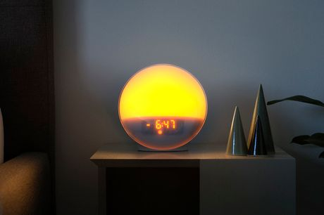 Lysterapi-lampe m. alarm. Vågn gradvist op til lys inspireret af solopgangen