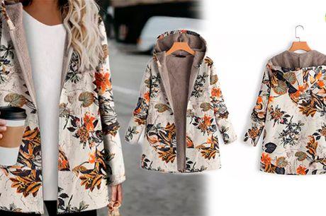 Klassisk og moderigtig bomuldsjakke med hætte og fint blomsterprint