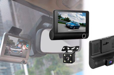 Smart HD bilkamera med tre linser der giver optimalt udsyn til alle sider