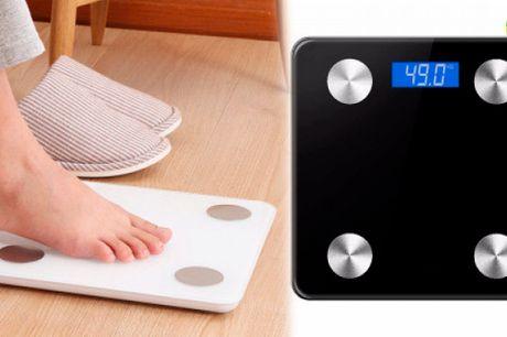 Bluetooth badevægt der måler vægt, fedt, vand og muskelmasse