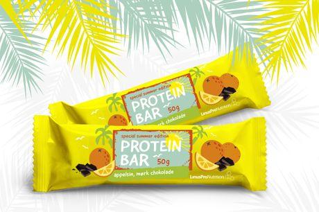 LinusPro Special Summer Edition 12 stk. (appelsin/mørk chokolade, 50g). Special Summer Edition proteinbar med smag af appelsin/mørk chokolade. 15 g protein i hver bar. Perfekt som proteintilskud efter et træningspas eller et proteinholdigt mellemmåltid.