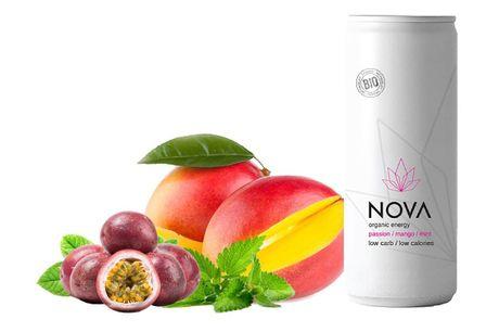 NOVA Organic Energy 24 stk. (Passion/Mango/Mint, 25 cl.). En velafbalanceret fusion af passionfrugt & mango sikrer en eksotisk sommersmag. For at tilføje en overraskende dejlig friskhed i denne drink er der tilføjet bare en lille smule mynte. Let sødme le