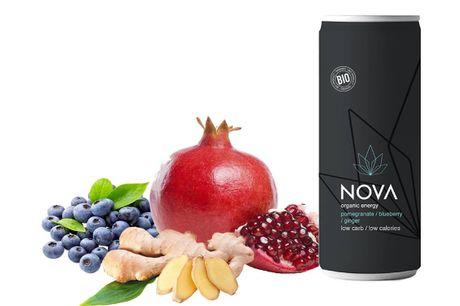 NOVA Organic Energy 24 stk. (Pomegranate/Blueberry/Ginger, 25 cl.). En lækker blanding af økologisk granatæble & blåbær giver denne drink en indledende sød smag. Blot et strejf af ingefær giver en subtil bitterlig eftersmag. Let sødme leveret af økologisk