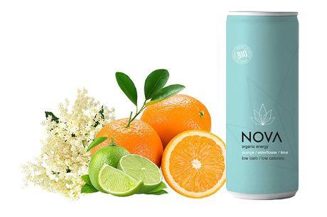 NOVA Organic Energy 24 stk. (Orange/Lime/Elderflower, 25 cl.). En forfriskende blanding af økologisk appelsin & hyldeblomst, som giver en vidunderlig smag og bare en knivspids lime giver denne drink en meget værdsat citrussmag. Let sødme leveret af økolog
