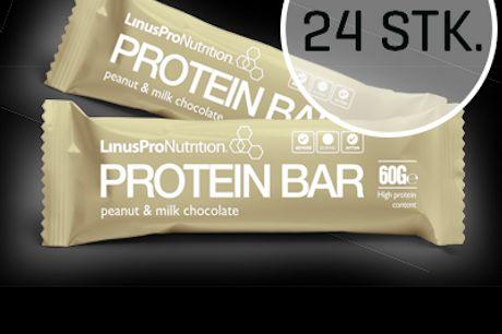 LinusPro Proteinbar 24 stk. (Peanut 60 g). LinusPro Proteinbar er en velsmagende protein bar på 60 gram med et højt proteinindhold fra kvalitets protein. Som alle vores andre produkter, er baren velsmagende og indeholder kun de bedste ingredienser. Sammen