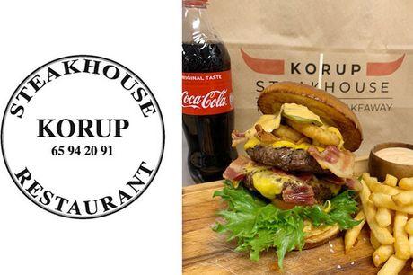 Glæd dig til at hente en dobbelt Maxi Burger-menu med burger, fritter og sodavand fra Korup Steak House