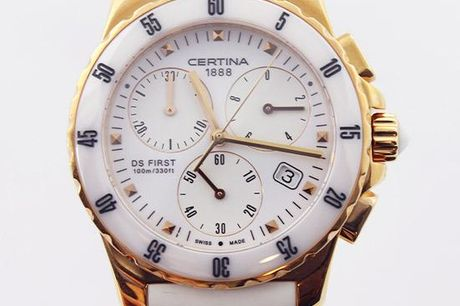 Dameur fra Certina - DS First Lady Ceramic Chronographic White Rubber
