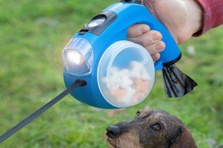 Trela Retrátil para Cães com Lanterna, Caixa com Sacos, Bebedouro, Caixa para Comida e Relógio Digital por 22€. VER VIDEO. PORTES INCLUIDOS.