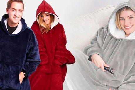 Varm og behageligt sweater-tæppe til hyggelige og kølige aftner