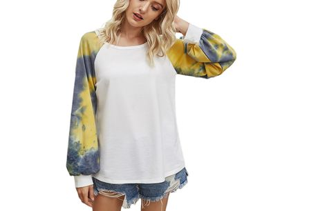 £8.99 instead of £25.99 for a ladies tie dye balloon sleeve top in White, Yellow, Grey or Khaki in UK sizes 10-16 from Domo Secret – save 65%